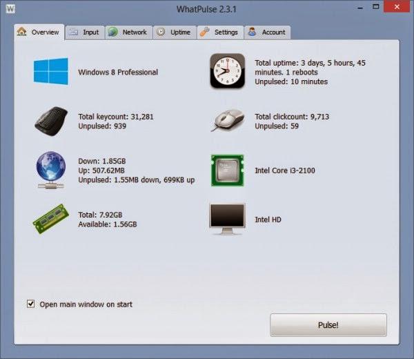 WhatPulse - Giám sát việc sử dụng máy tính 24/24