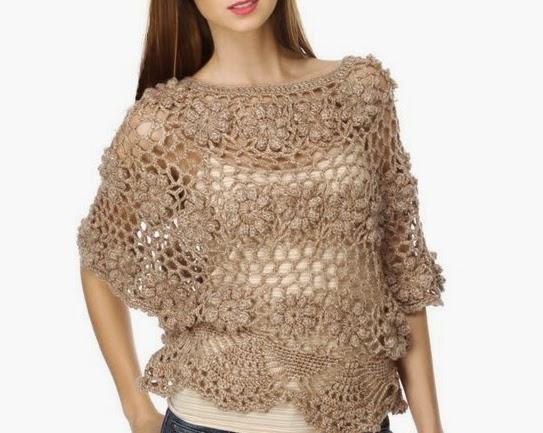 Blusa de Flores a Crochet o Ganchillo