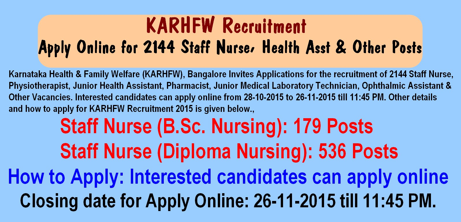 karhfw recruitment 2015 apply online for 2144 staff nurse health asst other posts