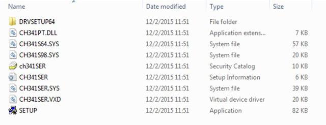 File dan folder yang terdapat dalam file usb driver arduino