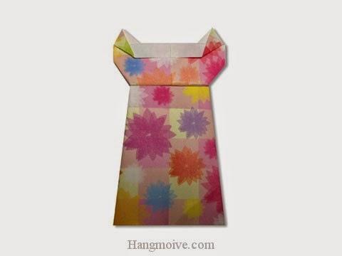 Cách gấp, xếp váy ngủ bằng giấy origami - Video hướng dẫn xếp hình quần áo - How to fold a One piece dress