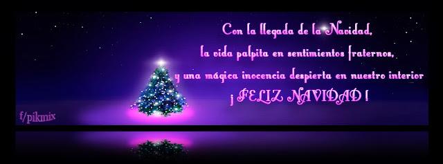 Portada para Facebook • Feliz Navidad • árbol de navidad, estrellas