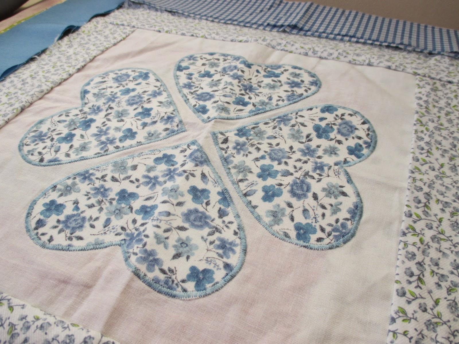 Indigo blue heart applique cushion opam april update