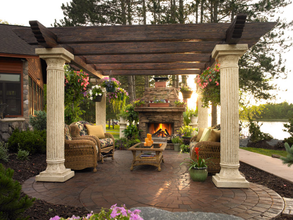 Beautiful backyard wallpapers stocks for Outdoor patio fireplace ideas