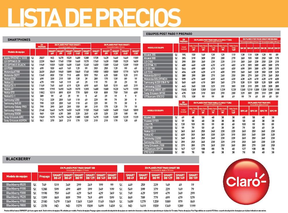 CLARO QUE TIENES MAS: Lista de Precios de Equipos Claro Septiembre 2011