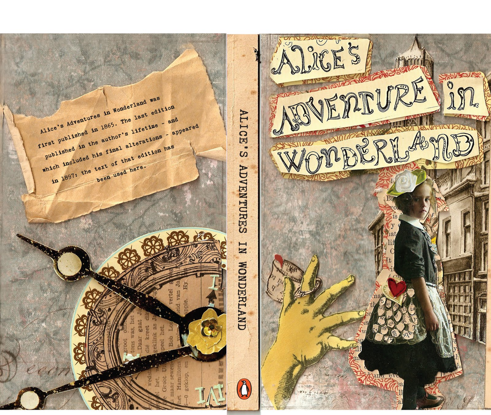 Collage Style Book Cover ~ Hooked bookworm alice s adventures in wonderland by lewis