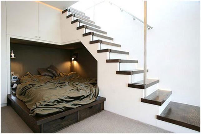 Bedroom under the stairs. Using space below the stairs