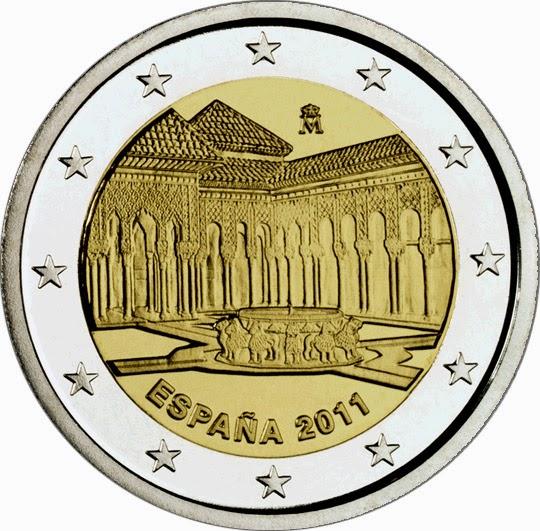 2 Euro Commemorative Coins Spain 2011 Court of the Lions Alhambra Granada
