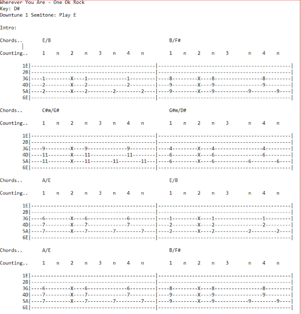 Latest Guitar Chord: One Ok Rock - Wherever You Are (Chords)