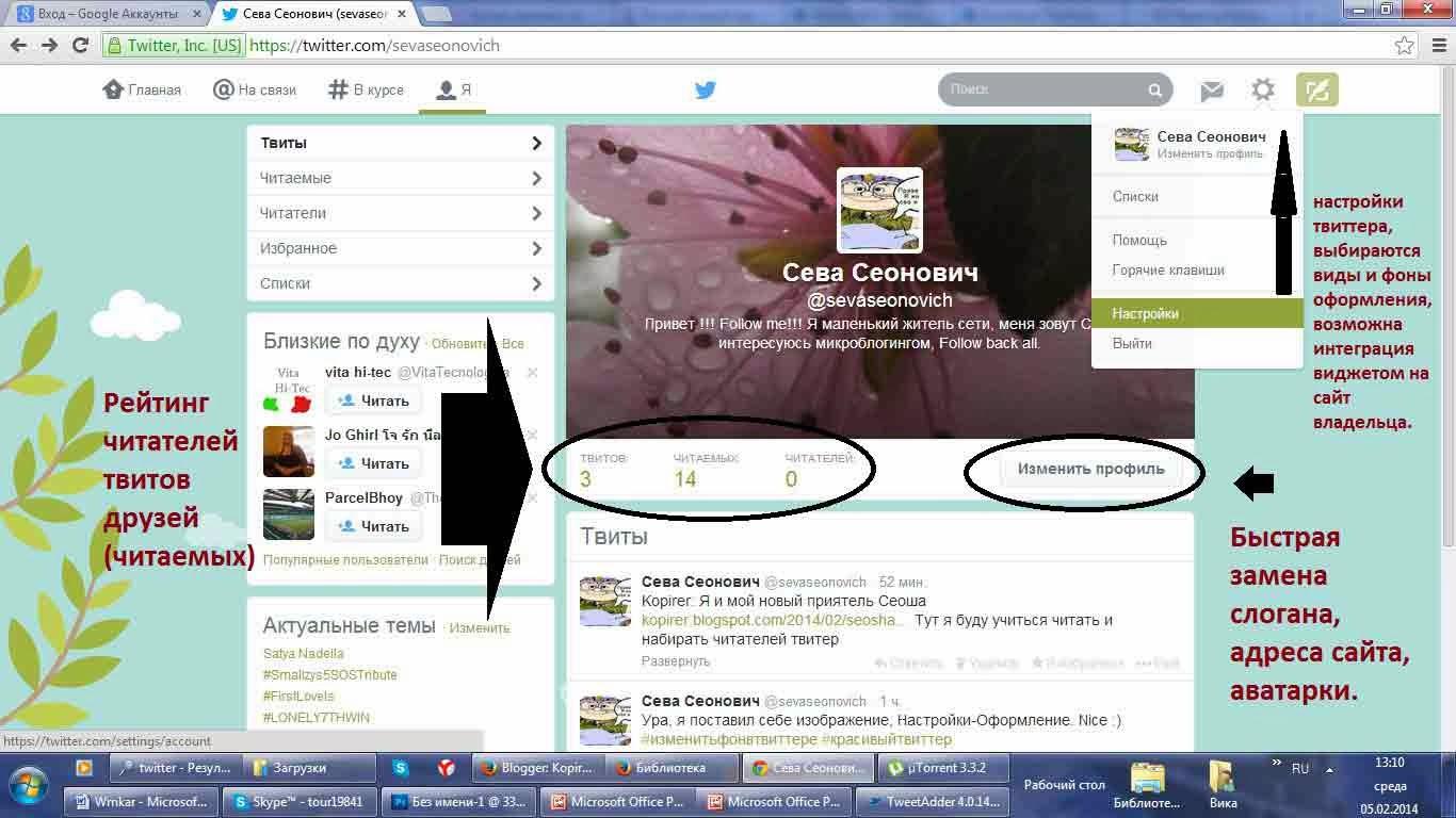 как оформлять профиль в твиттере