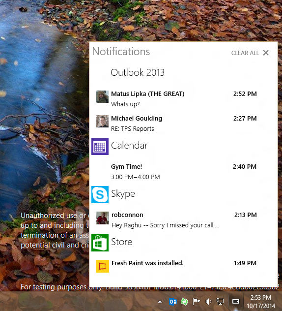 Windows 10 new notification center