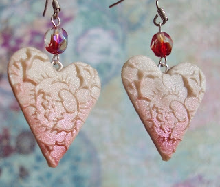 Loves First Blush Red tipped Heart Earrings Valentines Day  by phoenixartstudio