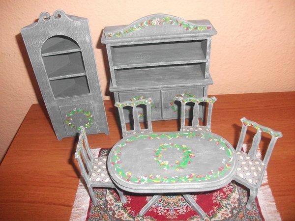 Muebles pintados a mano a escala 1 12 juguetes antiguos Muebles antiguos pintados a mano