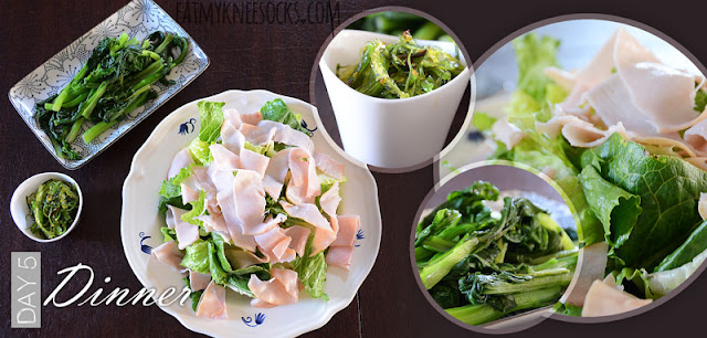 Dinner for day 5 of my NutriClean detox diet, with a turkey lettuce salad, seaweed salad, and steamed yu-choy.