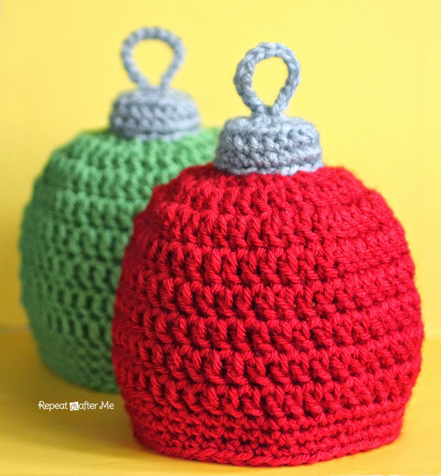 Repeat crafter me crochet christmas ornament hat pattern
