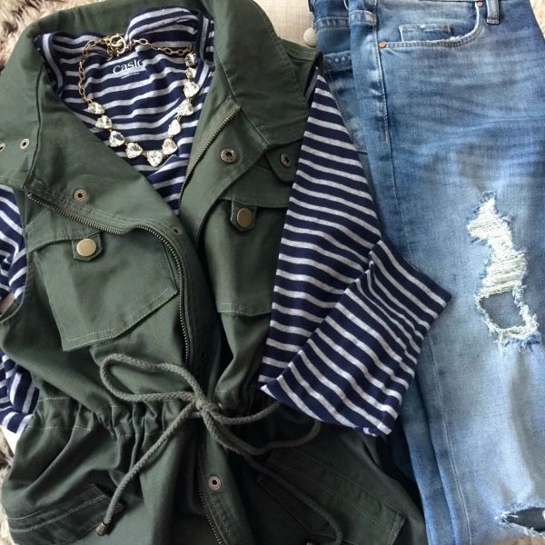 Fall fashion - distressed jeans, military vest, striped shirt