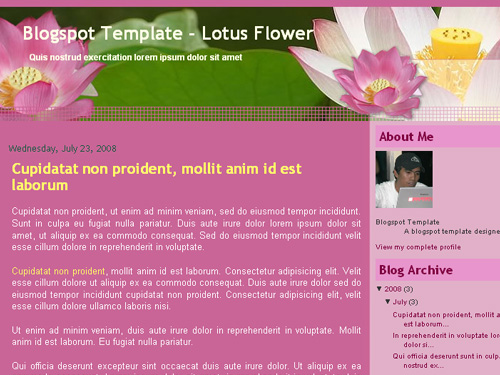 New Blogger Template: Lotus Flower