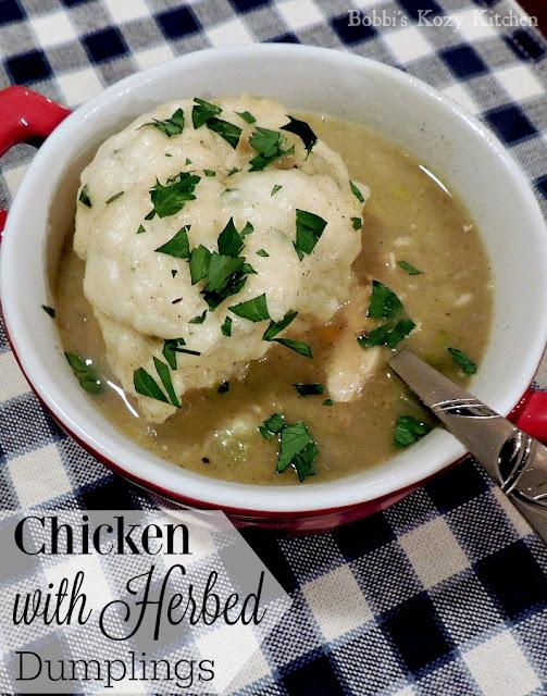 Chicken with Herbed Dumplings from www.bobbiskozykitchen.com