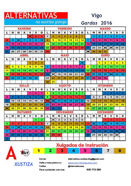 Vigo. Calendario gardas 2016