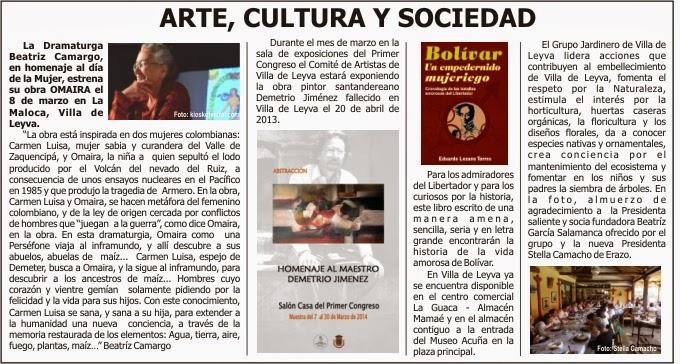 Huella marzo 2014 for Articulo de cultura para periodico mural