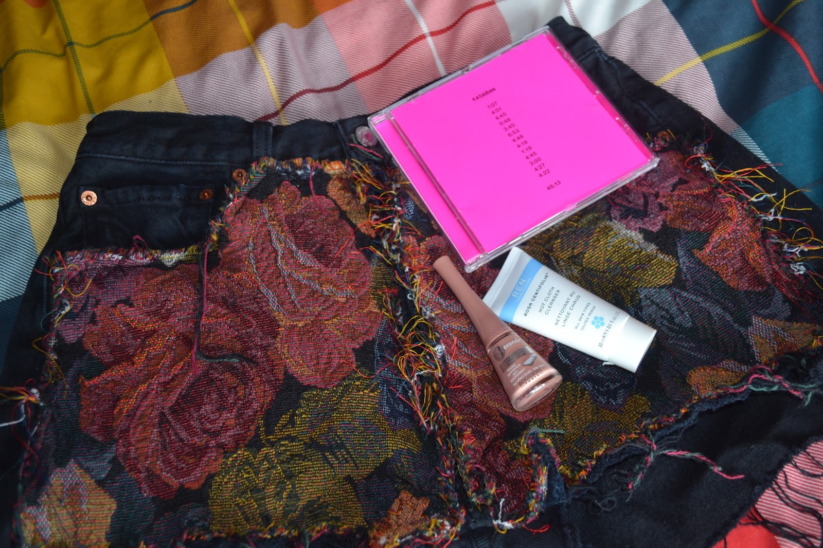 ASOS tapestry shorts, REN cleanser, Bourjois nail varnish and Kasabian's 48:13