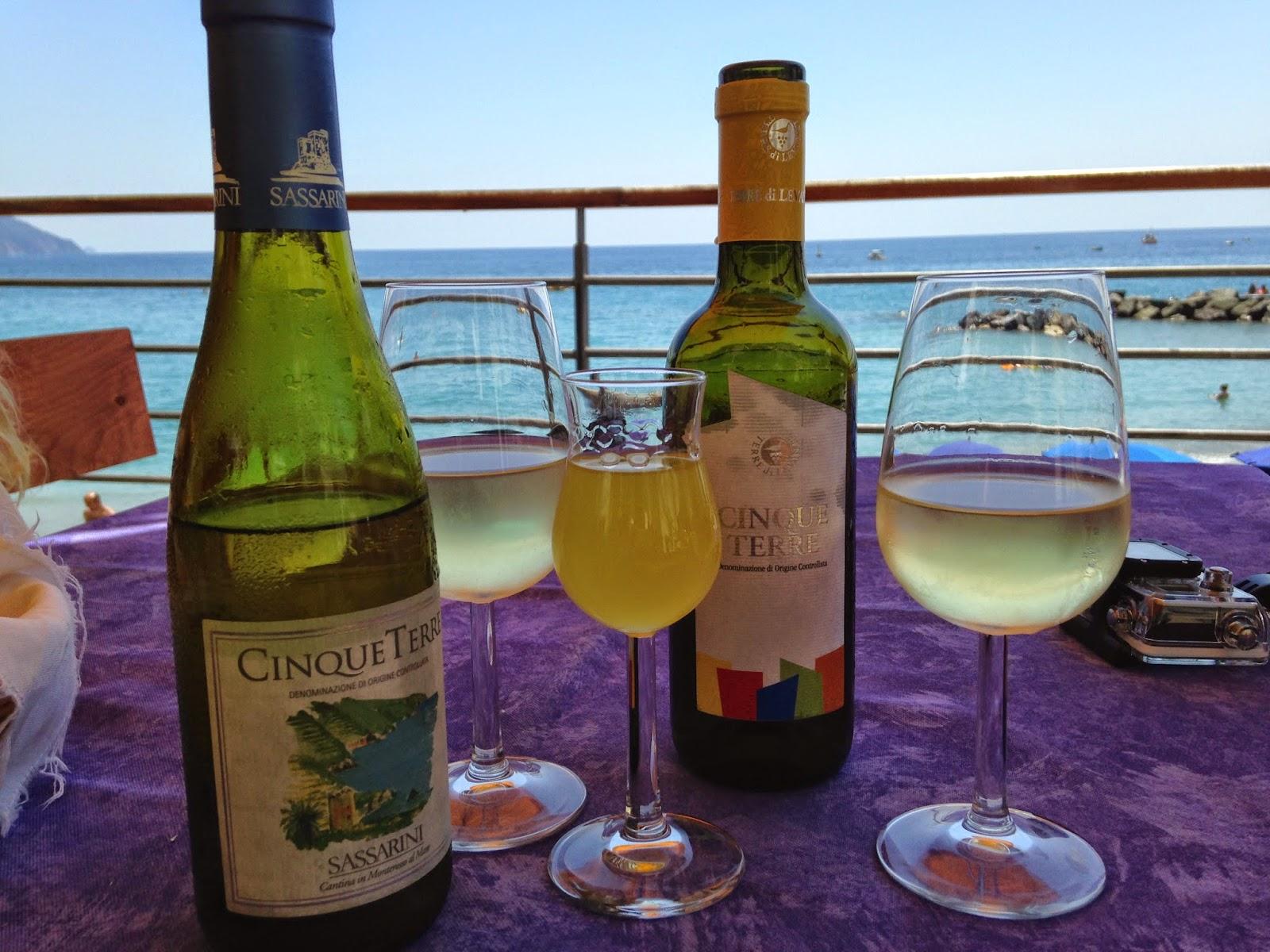 bottles of Cinque Terre wine