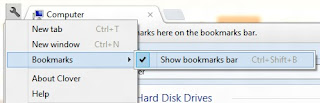 settings of the bookmark bar to show
