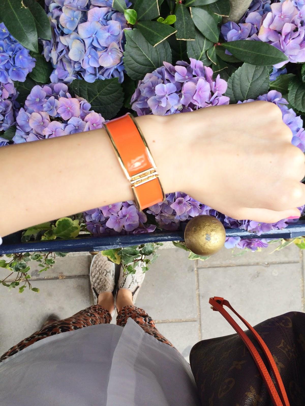 leopard print trousers, slipons, hm slip ons, lv, louis vuitton neverfull, hm bracelet, orange bracelet