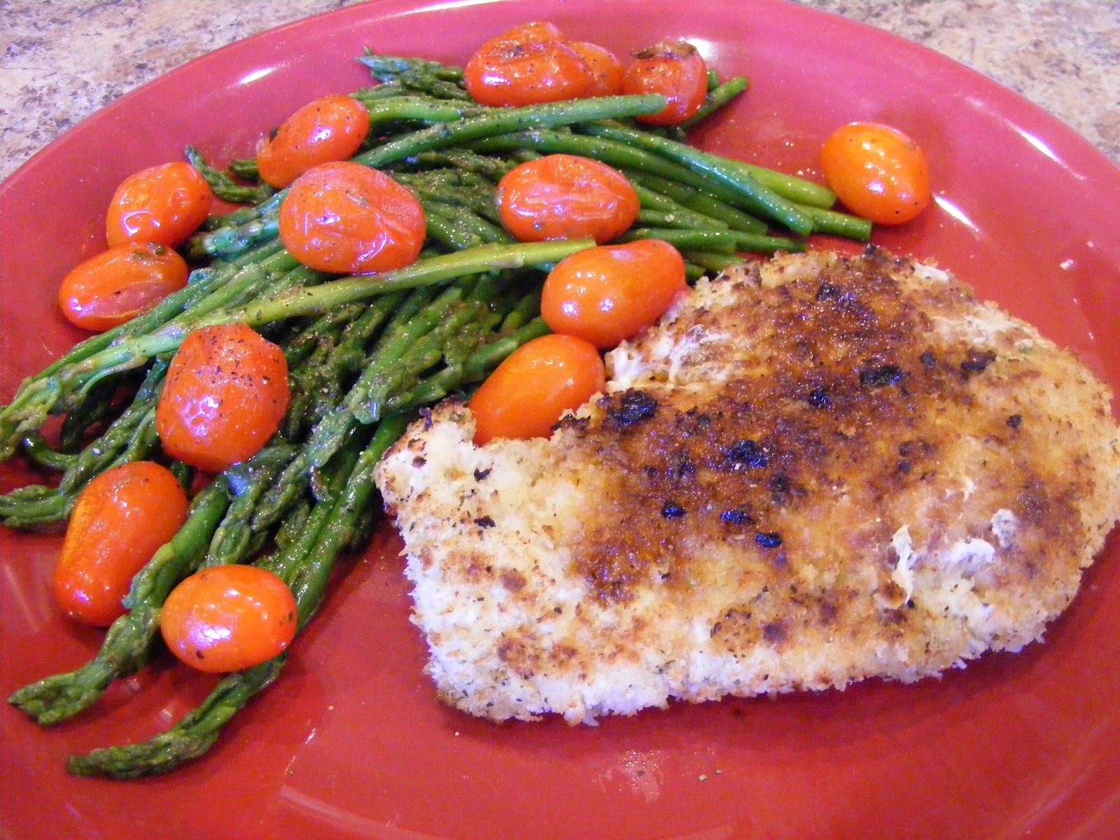 Chicken Scaloppine with Pan Roasted Asparagus and Cherry Tomatoes