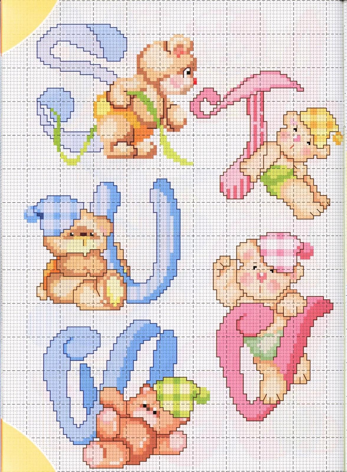 Ricamare lettere e cifre alfabeti fantasia per bambini for Ricamo punto croce lettere