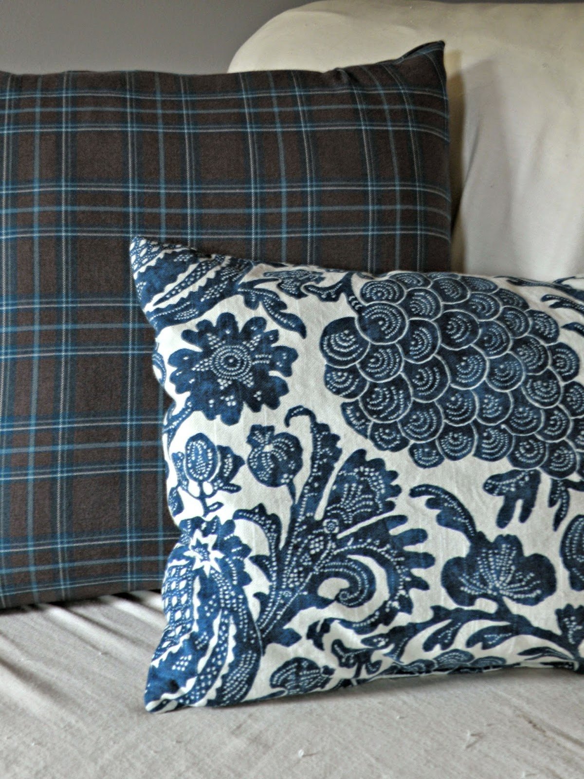 Navy blue mixed pattern pillows - plaid and floral