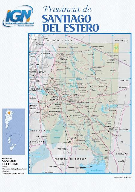 Mapa da província de Santiago Del Estero - Argentina