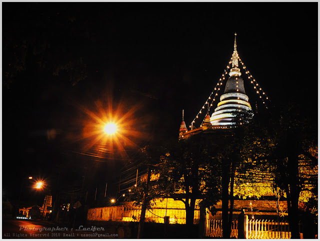 Photograph Night Temple Phitsanulok Thailand