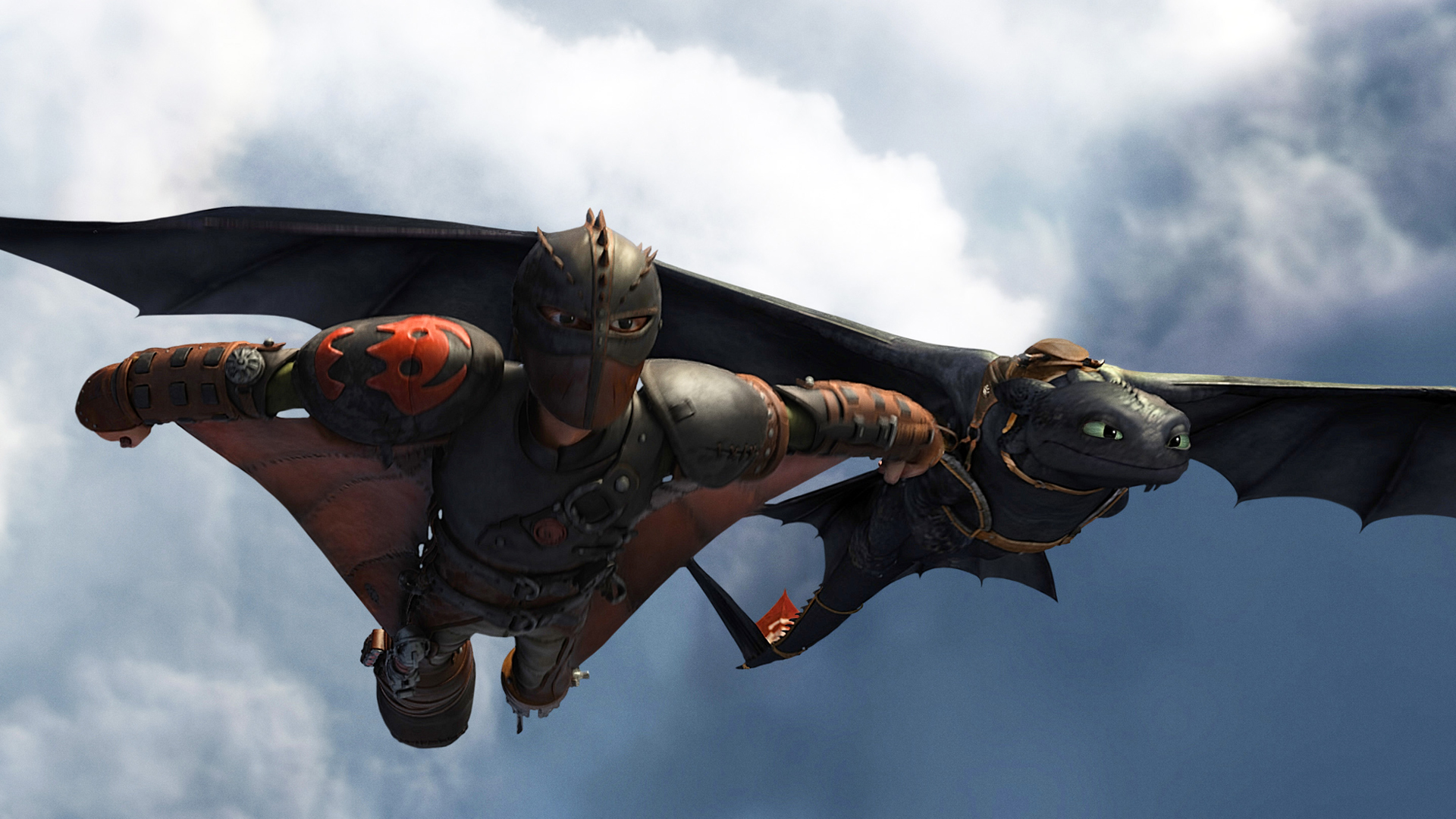 Toothless and Hiccup Flying 0y Wallpaper HD