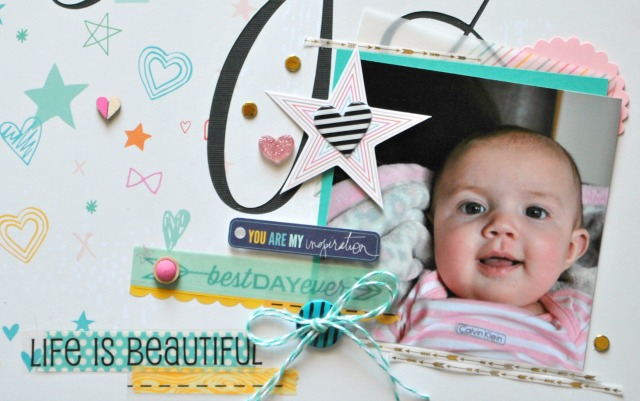 SRM Stickers Blog - A Be-You-tiful Layout from Cathy H. - #layout #stickers #stitches #borders #twine