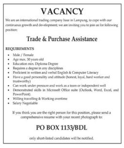 Job Vacancy Lampung Januari 2016