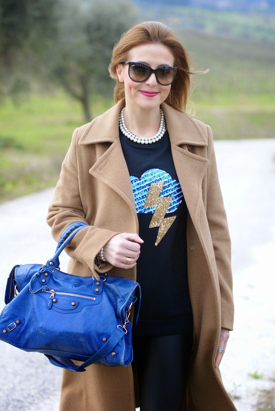 How to wear sequin appliques, Luca Barra collana perle, ray-ban cat eye sunglasses, Fashion and Cookies fashion blog, fashion blogger