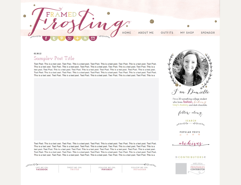 Gorgeous blog design! via Framed Frosting