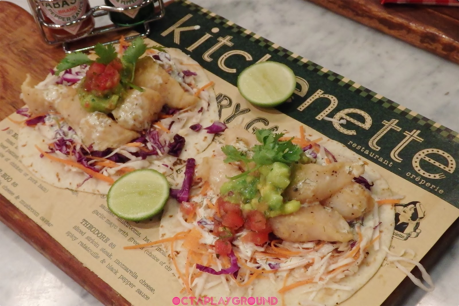 Baja Fried Fish Tacos with Avocado & Homemade Salsa  IDR 75.000