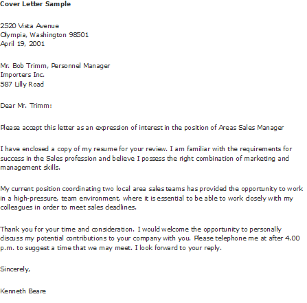 cover letter opportunity to discuss