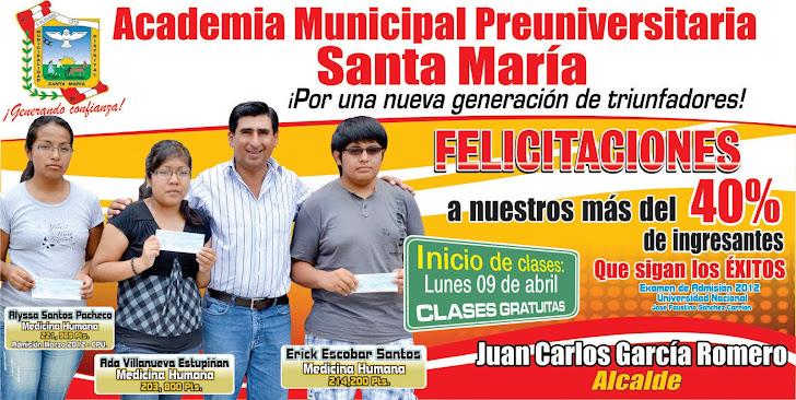 Rotundo éxito de Academia Municipal Preuniversitaria de Santa María