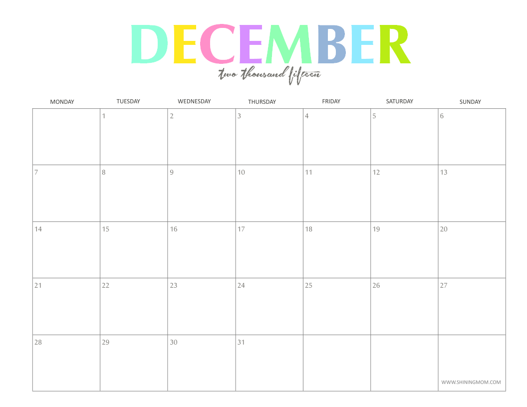 Calendar December : Free printable calendar december