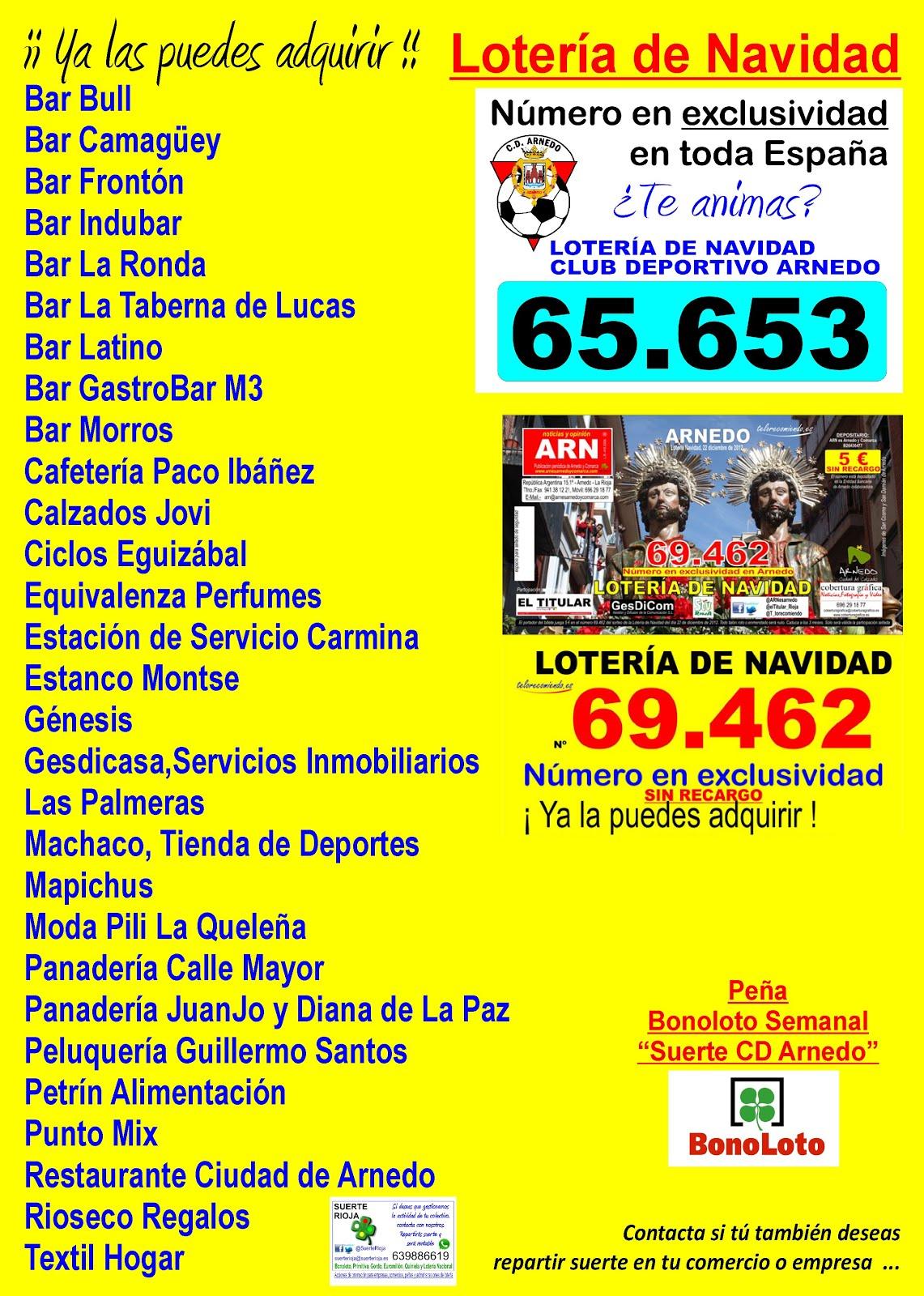 65653 69462 Lotería de Navidad Puntos de Distribución