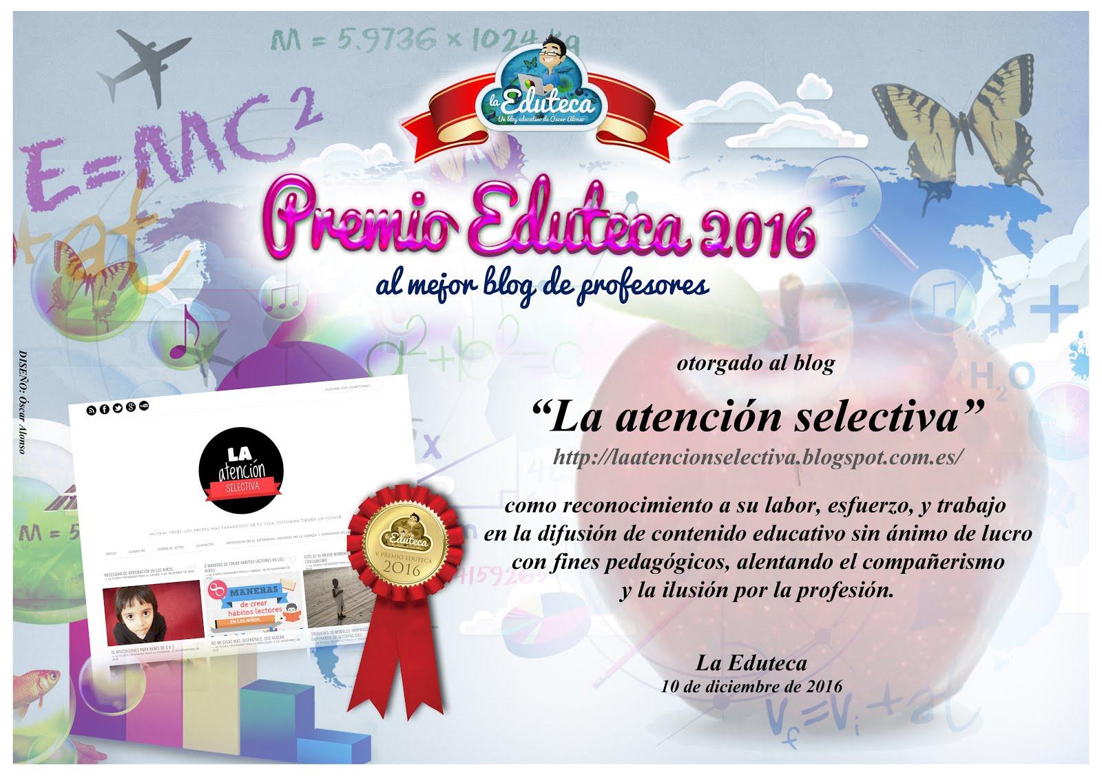 PREMIO V CERTAMEN LA EDUTECA EN LA SECCIÓN MEJOR BLOG DE PROFESORES.