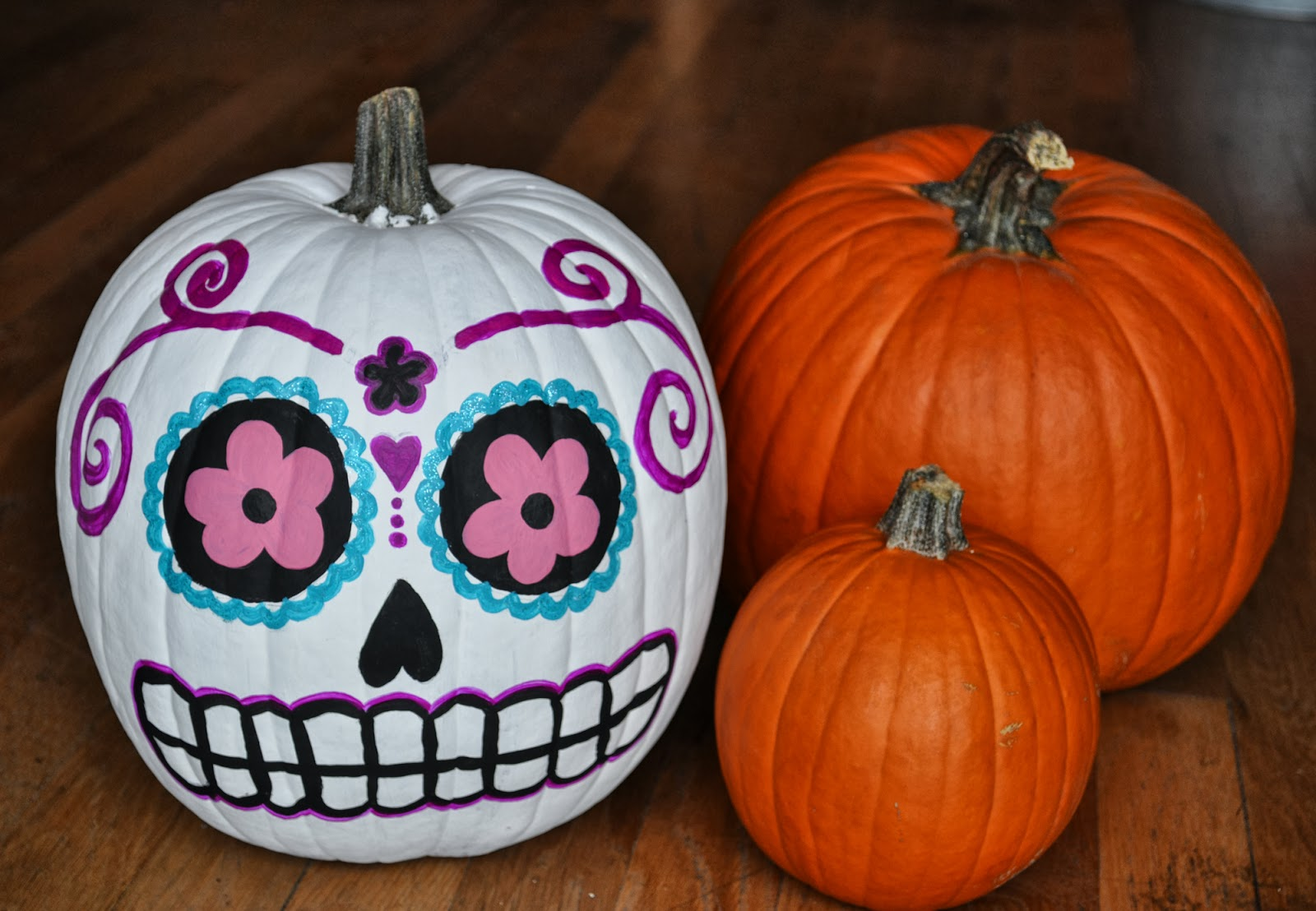 Artelexia day of the dead diy 18 sugar skull pumpkins Easy pumpkin painting patterns