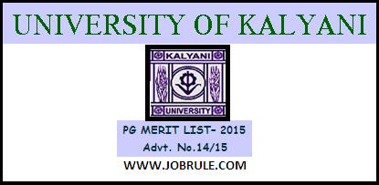 Kalyani University PG Admission 2015 Final Merit List & Instructions