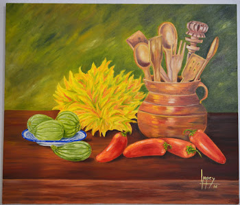 Bodegón con chiles rojos y flores de calabaza