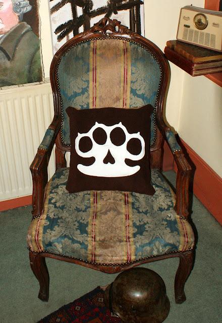 knuckleduster, pillow, antique, rockabilly, vintage, wool, cushion, kitsch