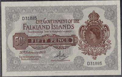 Isole Falkland( Malvine) 50 Pence 1974 P-10b