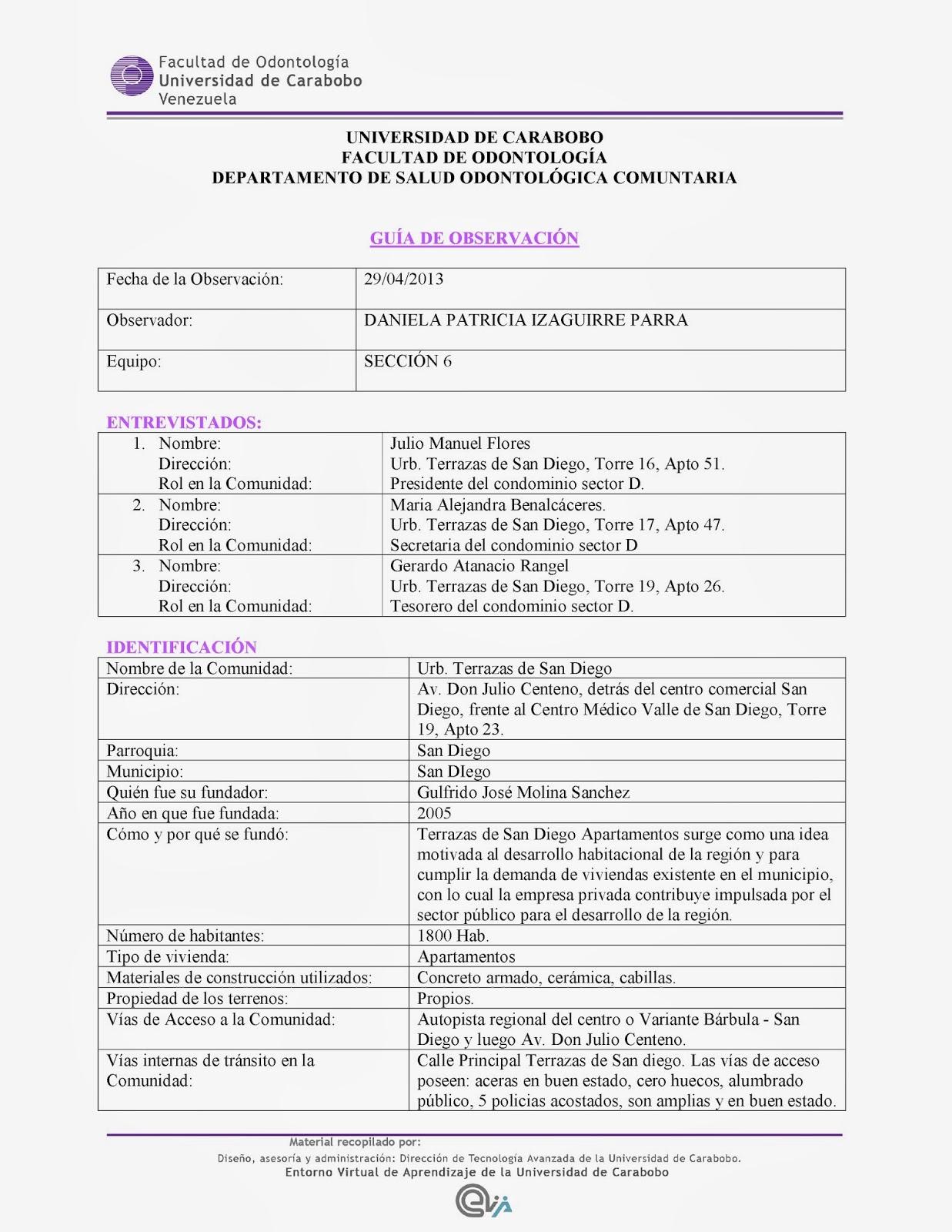Odontomuelitas: TEMA 9: Plantilla de la Guía de Observación.